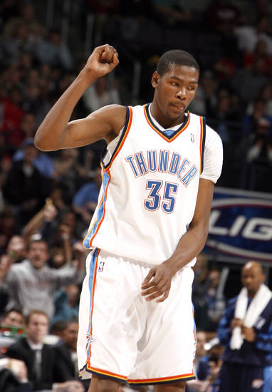 Oklahoma City's Kevin Durant (35) celebrates a Thunder score during the NBA game between the Oklahoma City Thunder and the Miami Heat Sunday Jan. 18, 2009, at the Ford Center in Oklahoma City. PHOTO BY SARAH PHIPPS, THE OKLAHOMAN