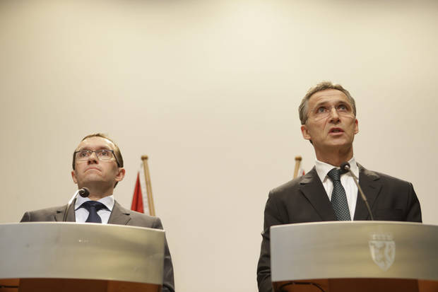 Norwegian Prime minister Jens Stoltenberg, right, and Foreign Minister, Espen Barth Eide, attend a press conference in Oslo regarding the attack on Statoil&#039;s plant in Algeria, where 13 Norwegians are among 17 workers who were taken as hostages, Wednesday, Jan. 16, 2013. Militants said they attacked and occupied the field partly operated by the British energy company BP because of Algeria&#039;s support of France&#039;s operation against al-Qaida-linked Malian rebels groups to the southeast. (AP Photo/NTB Scanpix, Berit Roald)  NORWAY OUT