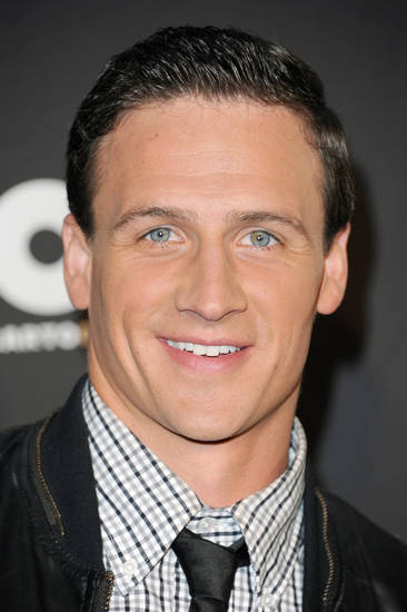 "Ryan Lochte arrives at The 3rd Annual Cartoon Network's ""Hall of Game"" Awards at The Barker Hangar on Saturday, Feb. 9, 2013 in Los Angeles. (Photo by Richard Shotwell/Invision/AP)"