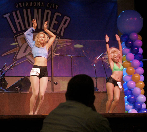 Emoly and Erica dance during auditions for the OKC Thunder dance team, at Toby Keith's I Love this Bar and Grill, in Oklahoma City, Thursday, Sept. 11, 2008 BY MATT STRASEN, THE OKLAHOMAN.