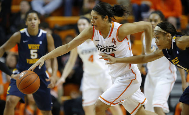 Brittney Martin (22) gains control of the ball in front of West Virginia's Christal Caldwell (1) during a women's college basketball game between Oklahoma State and West Virginia at Gallagher-Iba Arena in Stillwater, Okla.,  Tuesday, Jan. 29, 2013. Photo by Bryan Terry, The Oklahoman