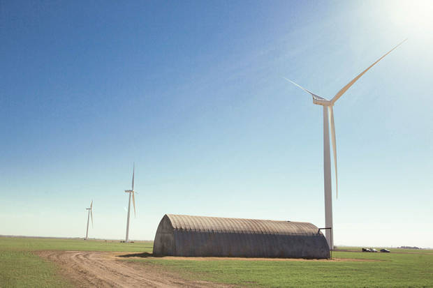 Turbines from the Cowboy Wind Farm near Blackwell are shown in this undated picture from Oklahoma State University. Photo Provided