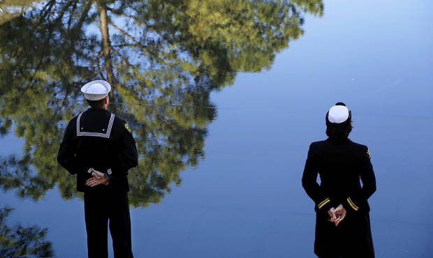 Members of the US Naval Sea Cadet Corps stand on the east end of the Reflecting Pool during the ceremony.  The Sea Cadets posted the colors at the 19th anniversary Remembrance Ceremony at the Oklahoma City National Memorial Saturday morning, April 19, 2014, to honor the memory of the 168 victims killed in the 1995 bombing of the Murrah Federal Building.  Photo by Jim Beckel, The Oklahoman
