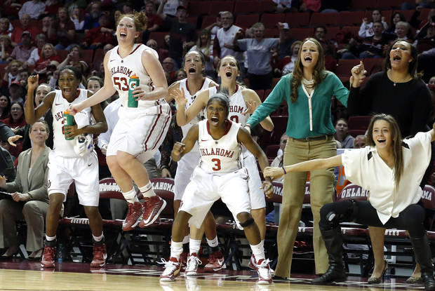 Oklahoma celebrates during the women&#039;s Bedlam basketball game between Oklahoma State University and Oklahoma at the Lloyd Noble Center in Norman, Okla., Sunday, Feb. 10, 2013.Photo by Sarah Phipps, The Oklahoman