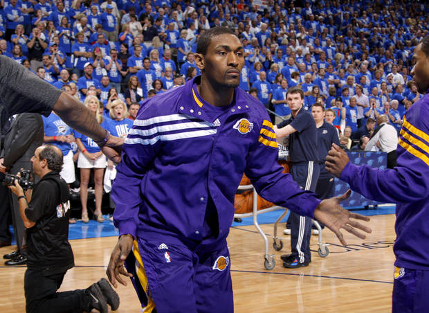 Fans boo as the Lakers' Metta World Peace is introduced before Game 1 in the second round of the NBA playoffs between the Oklahoma City Thunder and L.A. Lakers at Chesapeake Energy Arena in Oklahoma City, Monday, May 14, 2012. Photo by Bryan Terry, The Oklahoman