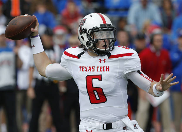 Reports from the Austin American Statesman say that Texas Tech quarterback Baker Mayfield is planning to enroll at Oklahoma as a walk-on. (AP Photo/Orlin Wagner)