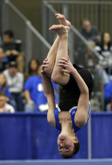 Alden Hunt, 11, from Lawrence, Kansas, competes in the floor exercise at the Bart Connor Invitational Sports Festival on Saturday, Feb. 16, 2013  in Oklahoma City, Okla. Photo by Steve Sisney, The Oklahoman