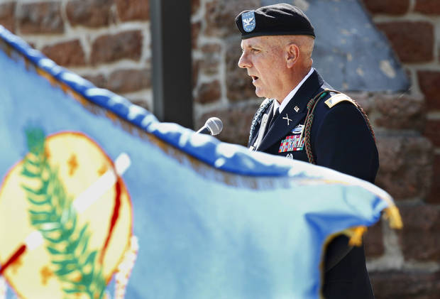 Col. Joel P. Ward, commander of the 45th Infantry Brigade Combat Team, delivers remarks at the Memorial Day Ceremony on the grounds of the 45th Infantry Division Museum  on Monday,  May 28,  2012,  Photo by Jim Beckel, The Oklahoman