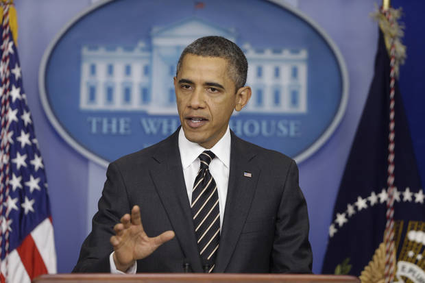 President Barack Obama gestures as speaks in the James Brady Press Briefing Room at the White House in Washington, Tuesday, Feb. 5, 2013. The president will ask Congress to come up with tens of billions of dollars in short-term spending cuts and tax revenue to put off the automatic across the board cuts that are scheduled to kick in March 1. (AP Photo/Charles Dharapak)