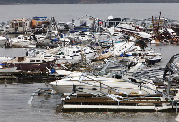 Boats damaged by the tornado at the marina at Lake Thunderbird State Park on Alameda in Norman, Tuesday, May 11, 2010. Photo by David McDaniel, The Oklahoman