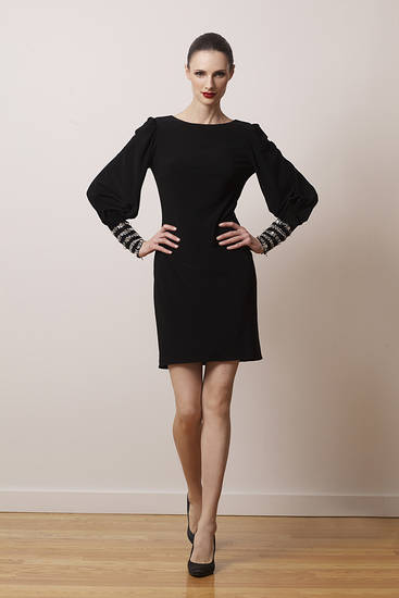 This black A-line jersey mini dress with long billowy sleeves is from the Kathy Hilton Collection. (Kathy Hilton Collection/Los Angeles Times/MCT)