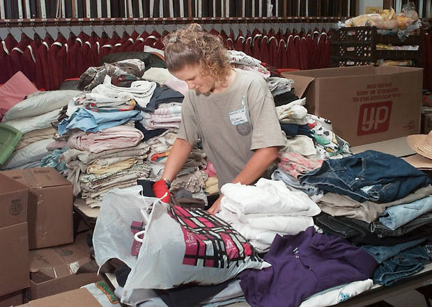 Tornado relief: Moore's First Baptist Church.  Church member  and Moore High School junior Mariah Clark, age 17, working as a volunteer to sort clothes in the church choir room.