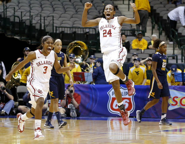 Oklahoma's Aaryn Ellenberg (3) and Sharane Campbell (24) celebrate as West Virginia's Christal Caldwell (1) and West Virginia's Bria Holmes (23) walk off the court after the Big 12 tournament women's college basketball game between the University of Oklahoma and West Virginia at American Airlines Arena in Dallas, Saturday, March 9, 2012. Oklahoma won 65-64.  Photo by Bryan Terry, The Oklahoman