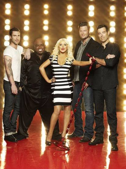 THE VOICE -- Season: 3 -- Pictured: (l-r) Adam Levine, CeeLo Green, Christina Aguilera, Blake Shelton, Carson Daly -- (Photo by: Mark Seliger/NBC)