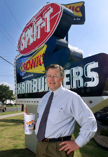 Cliff Hudson, CEO of Sonic Corp. at the old Split-T location at 5701 N Western. Staff Photo By Steve Gooch