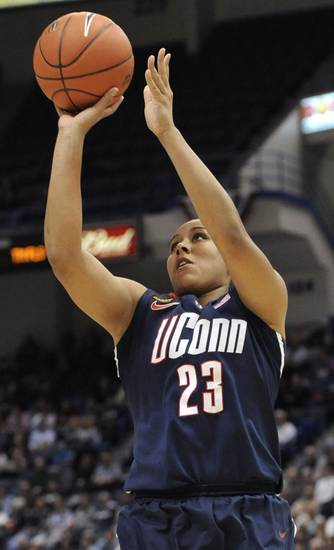 Connecticut's Kaleena Mosqueda-Lewis hits a 3-point basket in the first half of an NCAA college basketball game against Notre Dame in the final of the Big East women's tournament in Hartford, Conn., Tuesday, March 6, 2012. (AP Photo/Jessica Hill)
