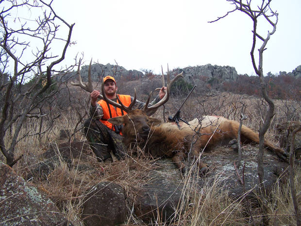Joe Freeman of Altus took this bull elk during a hunt on the Wichita Mountains Wildlife Refuge in December. Photo provided