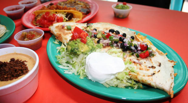 A monstrous quesadilla from The Whole Enchilada Cafe, ask for it as it's not on the menu.