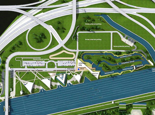 A conceptual design shows the proposed white-water kayaking and rafting facility in the Boathouse District near downtown Oklahoma City. Photo provided by S2o Design