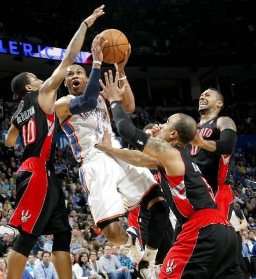 It's plays like these by Russell Westbrook, surrounded by four Raptors defenders, that have fans calling him a ball hog.
