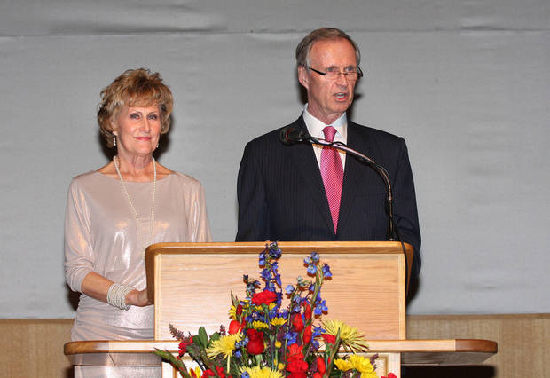Allied Arts� campaign co-chairmen Judy Hatfield and John Richels address the audience during the 2013 campaign kickoff event Tuesday at the National  Cowboy & Western Heritage Museum.  Photo by David Faytinger, For The Oklahoman