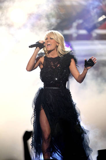 Carrie Underwood performs �Two Black Cadillacs� at the 40th Anniversary American Music Awards on Sunday, Nov. 18, 2012, in Los Angeles. (Photo by Matt Sayles/Invision/AP)