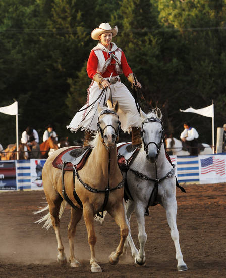 Wendy Ratchford is a trick rider at the Pawnee Bill Wild West Show in Pawnee, Oklahoma on Saturday,  June 23, 2012.  Photo by Jim Beckel, The Oklahoman
