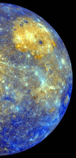 This image released by NASA shows an enhanced photo image of Mercury from its Messenger probeís 2008 flyby of the planet. NASA says it was a taste of pictures likely to come after March 17, 2011, when the probe enters Mercuryís orbit. This photo shows the eastern part of the smallest and closest planet in our solar system. The colors in this picture are different than what would be seen with the naked eye, but show information about the different rock types and subtle color variations on the oddball planet. The bright yellow part is the Caloris impact basin, which is the site of one of the biggest in the solar system. For the first time, Earth has a regular orbiting eye-in-the-sky spying on the solar system's smallest and strangest planet, Mercury. NASA's spacecraft called Messenger successfully veered into a pinpoint orbit Thursday night after a 6 1/2-year trip and 4.9 billion miles and tricky maneuvering to fend off the gravitational pull of the sun. It is the fifth planet in our solar system that NASA has orbited, in addition to the Earth and the moon. (AP Photo/NASA/Johns Hopkins University Applied Physics Laboratory/Arizona State University/Carnegie Institution of Washington) ORG XMIT: WX105
