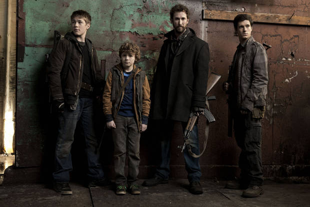 From left, Connor Jessup, Maxim Knight, Noah Wyle and Drew Roy star of &quot;Falling Skies&quot; - TNT Photo