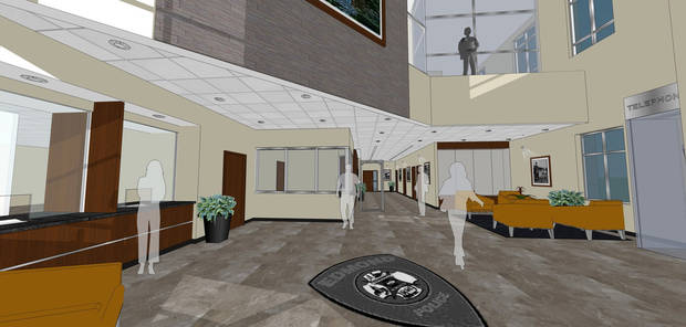 Architect drawings of the three-story lobby of the new Edmond Public Safety Center. DRAWING PROVIDED, CITY OF EDMOND.
