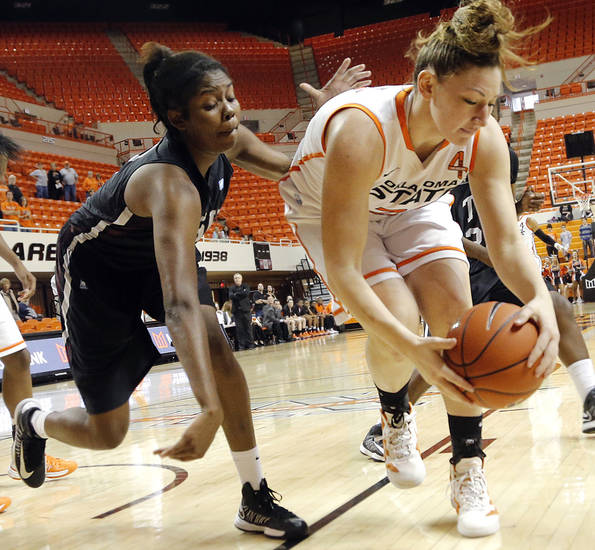 Texas Southern 's Gianne Fleming (3) battles for a loose ball with Oklahoma State 's Lindsey Keller (25) during the women's college basketball game between Oklahoma State University and Texas Southern University on Saturday, Dec. 1, 2012, in Stillwater, Okla.   Photo by Chris Landsberger, The Oklahoman