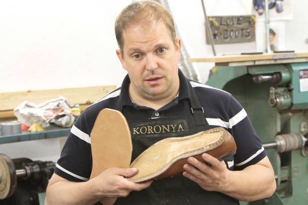 Hungarian shoemaker Marcell Mrsán is visiting Sorrell Custom Boots in Guthrie this week to teach students his trade, Thursday, July 19 , 2012. Photo By David McDaniel/The Oklahoman <strong>David McDaniel - The Oklahoman</strong>