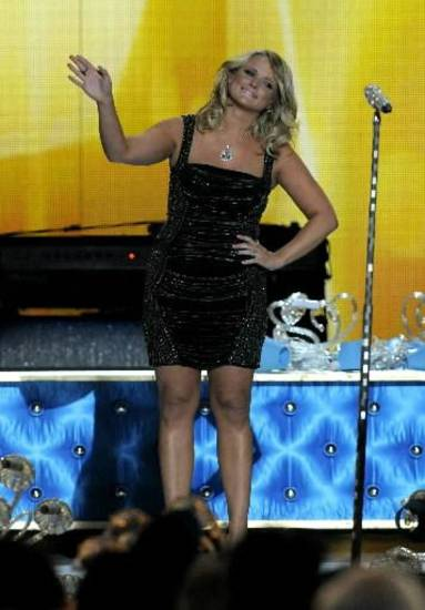 Miranda Lambert accepts an award at the at the 48th Annual Academy of Country Music Awards at the MGM Grand Garden Arena in Las Vegas on Sunday, April 7, 2013. (AP)