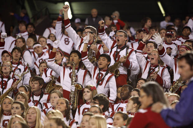 Members of the Oklahoma band cheer before the Insight Bowl college football game between the University of Oklahoma (OU) Sooners and the Iowa Hawkeyes at Sun Devil Stadium in Tempe, Ariz., Friday, Dec. 30, 2011. Photo by Bryan Terry, The Oklahoman