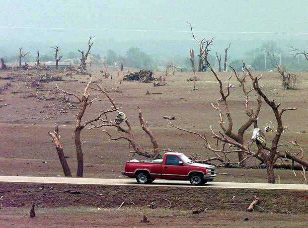 MAY 3, 1999 TORNADO: Tornado damage: Path of devastation during Monday's tornado in Newcastle looking west across State Highway 76. The grass was pulled from the ground.