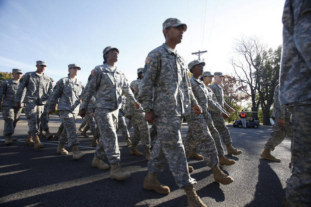 UCO's ROTC members march past during the University of Central Oklahoma's homecoming parade in Edmond, OK, Saturday, November 3, 2012,  By Paul Hellstern, The Oklahoman
