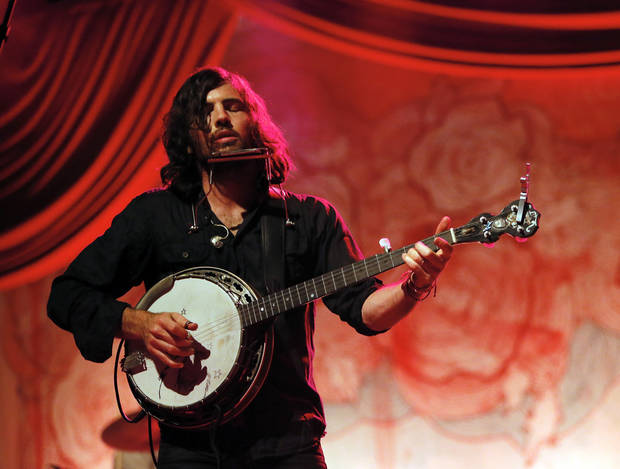 Scott Avett performs during a concert by the Avett Brothers at Chesapeake Energy Arena in Oklahoma City, Friday, July 27, 2012. Photo by Nate Billings, The Oklahoman