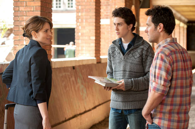 "From left, Tina Fey, Nat Wolff and Paul Rudd in a scene from ""Admission."" FOCUS FEATURES PHOTO <strong></strong>"