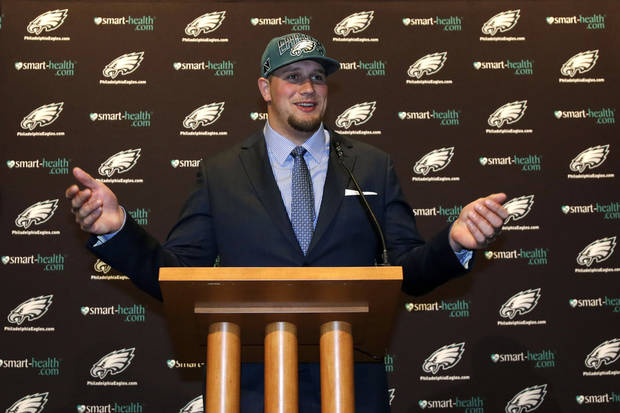 Former Oklahoma offensive tackle Lane Johnson speaks to reporters in Philadelphia. AP PHOTO