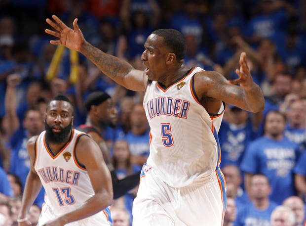 Oklahoma City's Kendrick Perkins (5) reacts to a play during Game 2 of the NBA Finals between the Oklahoma City Thunder and the Miami Heat at Chesapeake Energy Arena in Oklahoma City, Thursday, June 14, 2012. Photo by Sarah Phipps, The Oklahoman