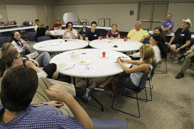 The first Tornado Town Hall meeting was held Thursday at the Norman Public Library as those in the weather-safety field asked residents of Norman and surrounding areas what they�ve heard and what they know about tornadoes.  Photo by David McDaniel, The Oklahoman