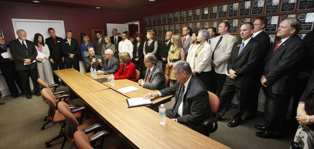 School superintendents from across Oklahoma gather Thursday, Oct. 4, 2012, for a news conference in Oklahoma City to express concern and frustration about the A-F school evaluation reform.  By Paul Hellstern, The Oklahoman <strong>PAUL HELLSTERN - Oklahoman</strong>