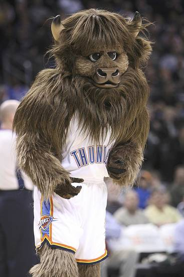 Oklahoma City Thunder mascot Rumble the Bison entertains the crowd during a game March 2. Oklahoman archive photo by Hugh Scott