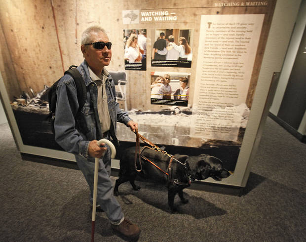Vietnam veteran Michael Stephens visits the Oklahoma City National Memorial Museum with his guide dog Tommy on a tour with  Newview Oklahoma, Friday, November 9, 2012.  Photo By David McDaniel/The Oklahoman