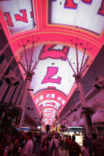 The Fremont Experience light show. Photo courtesy vegasexperience.com. <strong></strong>