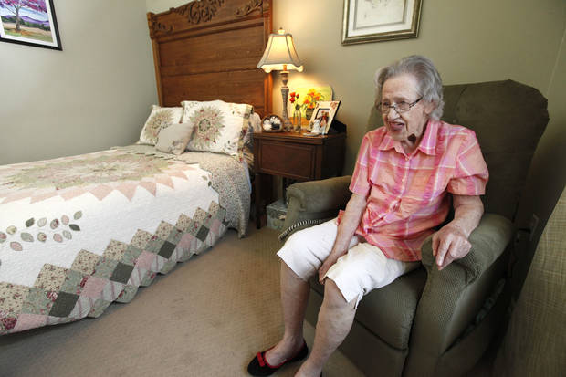 Resident Lorene Baird, 97, sits in her room at a non-traditional eldercare home in Logan County. The house is decorated and operated like a home for five residents. PHOTO BY PAUL HELLSTERN, THE OKLAHOMAN. <strong>PAUL HELLSTERN - OKLAHOMAN</strong>