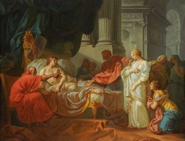"""Erasistratus Discovers the Cause of Antiochus's Disease,"" a 1774 oil painting by French artist Jacques-Louis David, is featured in the traveling exhibition ""Gods and Heroes: Masterpieces From the Ecole des Beaux-Arts, Paris,"" on view through Sept. 14 at the Oklahoma City Museum of Art. Photo provided by the American Federation of Arts"