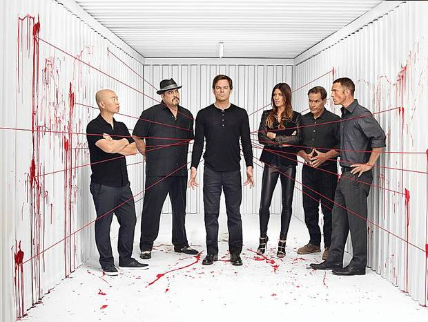 C.S. Lee as Vince Masuka, David Zayas as Angel Batista , Michael C. Hall as Dexter Morgan, Jennifer Carpenter as Debra Morgan, James Remar as Harry Morgan and Desmond Harrington as Joey Quinn (Season 8) - Photo: Jim Fiscus/SHOWTIME - Photo ID: red-cast-107_RGB_300