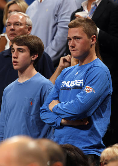 Thunder fans watch as the Atlanta Hawks defeat the Oklahoma City Thunder 104-95 in NBA basketball at the Chesapeake Energy Arena in Oklahoma City, on Sunday, Nov. 4, 2012.  Photo by Steve Sisney, The Oklahoman