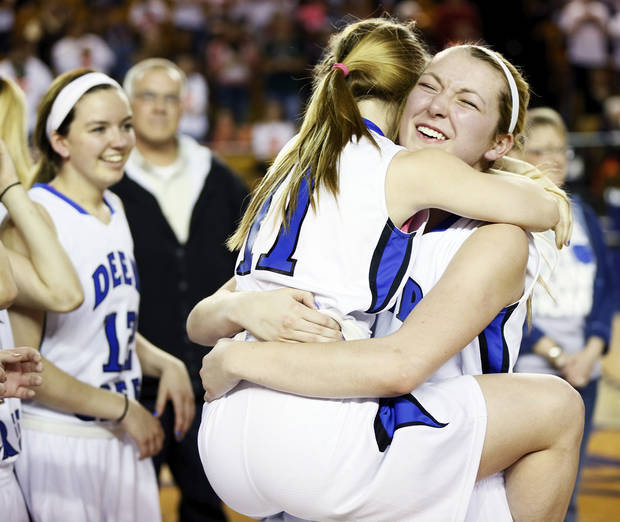 Deer Creek's Glenn Chesley (45), right, celebrates with Shae Scheffler (11) after the Antlers won the Class 5A girls championship high school basketball game in the state tournament at the Mabee Center in Tulsa, Okla., Saturday, March 9, 2013. Deer Creek defeated Shawnee, 59-44. Photo by Nate Billings, The Oklahoman